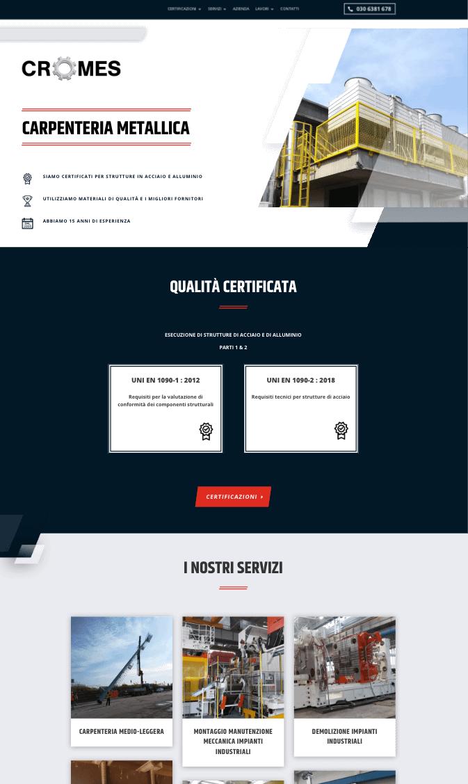 Website design example of a metal carpentry