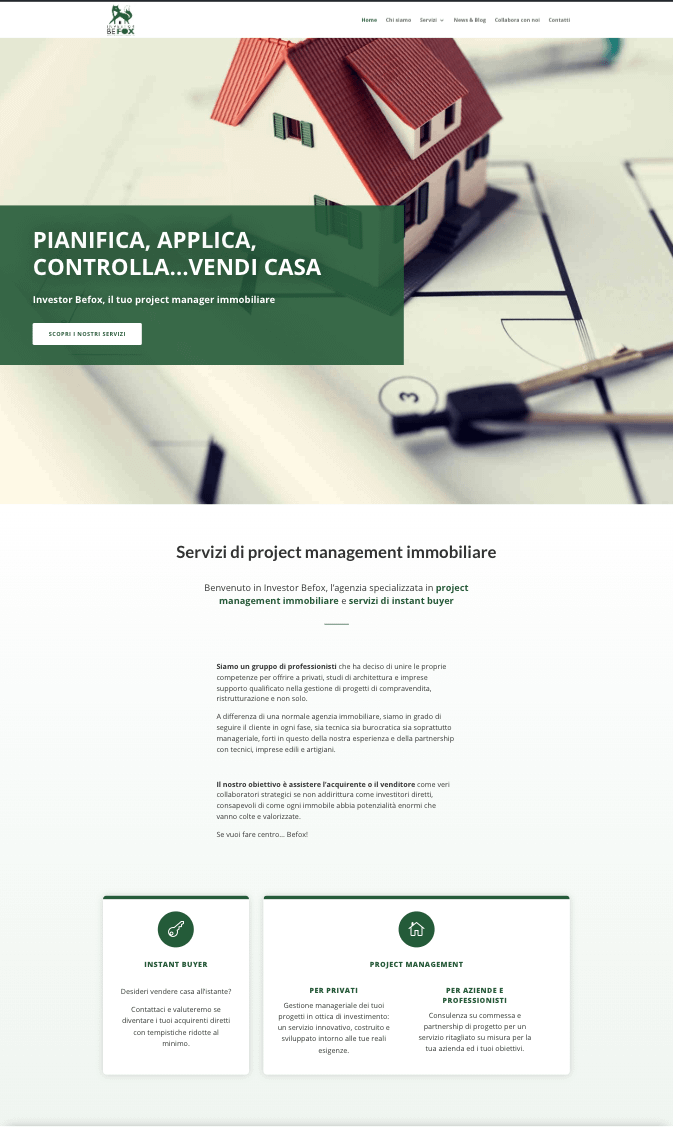 Website design example of a real estate consultant